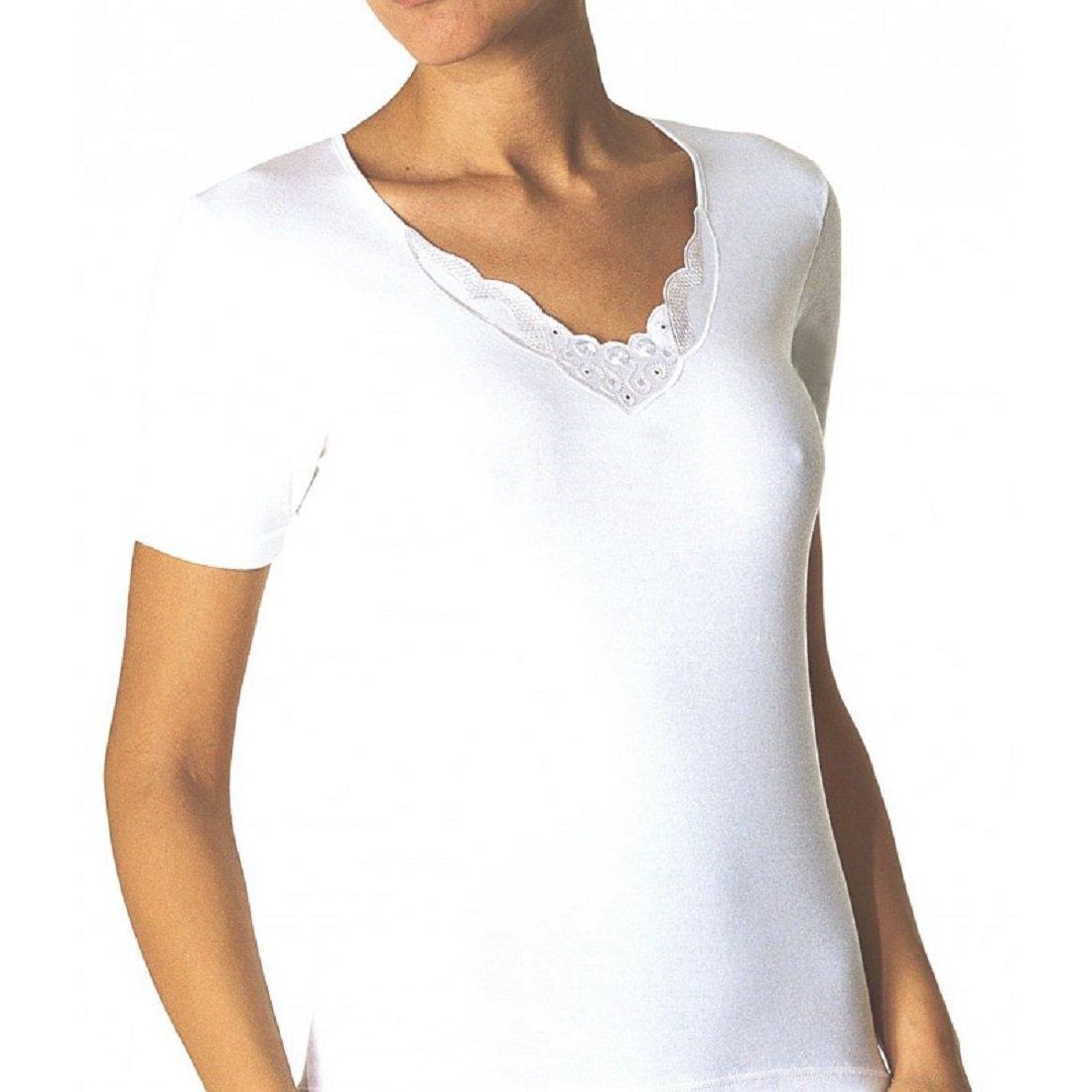 Camiseta Manga Corta con Tira Bordada sin Costuras Tubular. AVET 7605