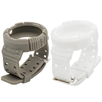 Eletespt Reemplazo Pulsera de Silicona de Repuesto Venda de Reloj de Inteligente Correa para Motorola Moto 360 1 Generación Banda (Grey White 2)