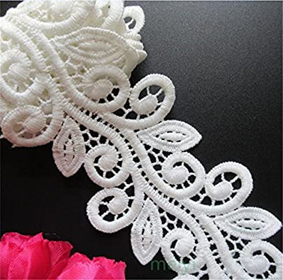 3 Meters Micro Fiber Lace Edge Trim Ribbon 7 cm Width Vintage Style White Edging Trimmings Fabric Embroidered Applique Sewing Craft Wedding Bridal Dress Embellishment DIY Decor Clothes Embroidery