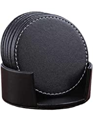 Set of 6 Leather Drink Coasters Round Cup Mat Pad for Home and Kitchen Use Black, 3.94""