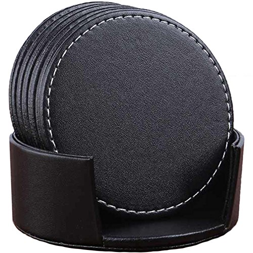 Set of 6 Leather Drink Coasters Round Cup Mat Pad for Home and Kitchen Use Black, - Leather Coaster Drink