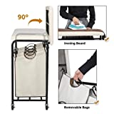 Yaheetech Heavy Duty 3-Bag Rolling Laundry Hamper