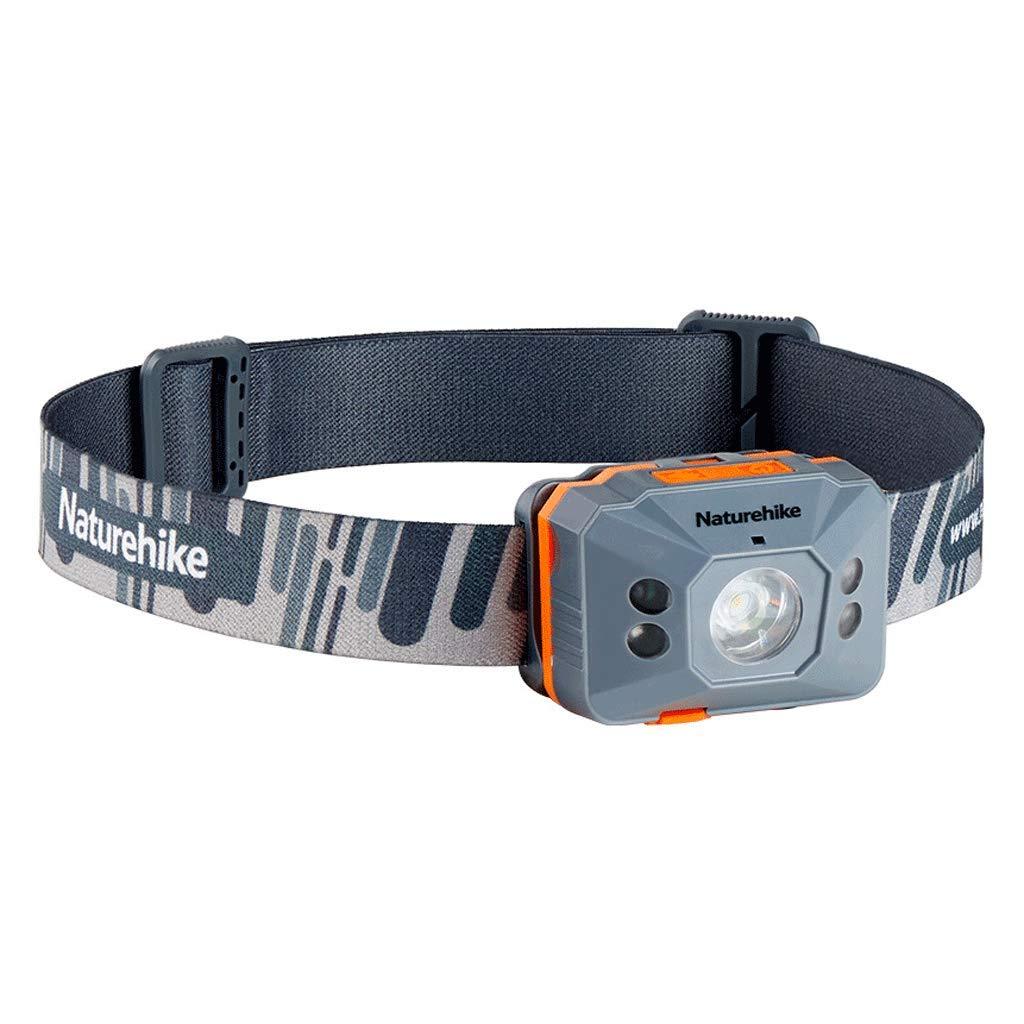 ZNND Angel Lampe, Nachtlicht Suchscheinwerfer Scheinwerfer LED Camping Patrol Taschenlampe Tragbare Lade Scheinwerfer Angeln LED Intelligente Langlebige Blendung (Farbe : grau)