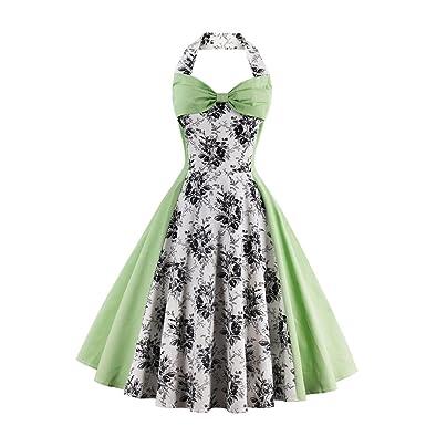 KeKeD23921 New Summer Dress Women Halter Patchwork Vintage Dress Plus Size Party Casual Dress Feminino Rockabilly