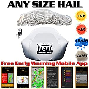 "Patented HAIL PROTECTOR Car Cover System (ANY SIZE HAIL, ENTIRE VEHICLE, REMOTE CONTROLLED, FREE MOBILE APP) for Sedans, Hatchbacks and Wagons up to 175"" in length (6 Sizes)"