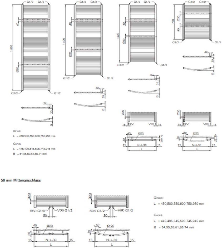 Buderus Badheizk/örper gerade Logatrend Therm direct 1220 mm Standardanschluss Breite: 750 mm RAL 9016 Handtuchheizk/örper /…