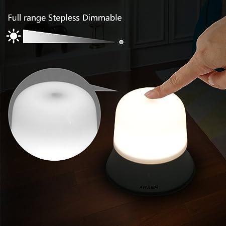 Amazon.com: Sensor táctil Lámpara de mesa araer Luz LED de ...