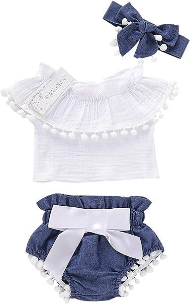 3PCS Toddler Infant Baby Girl Clothes Off Shoulder Floral Tops Shorts Outfit Set