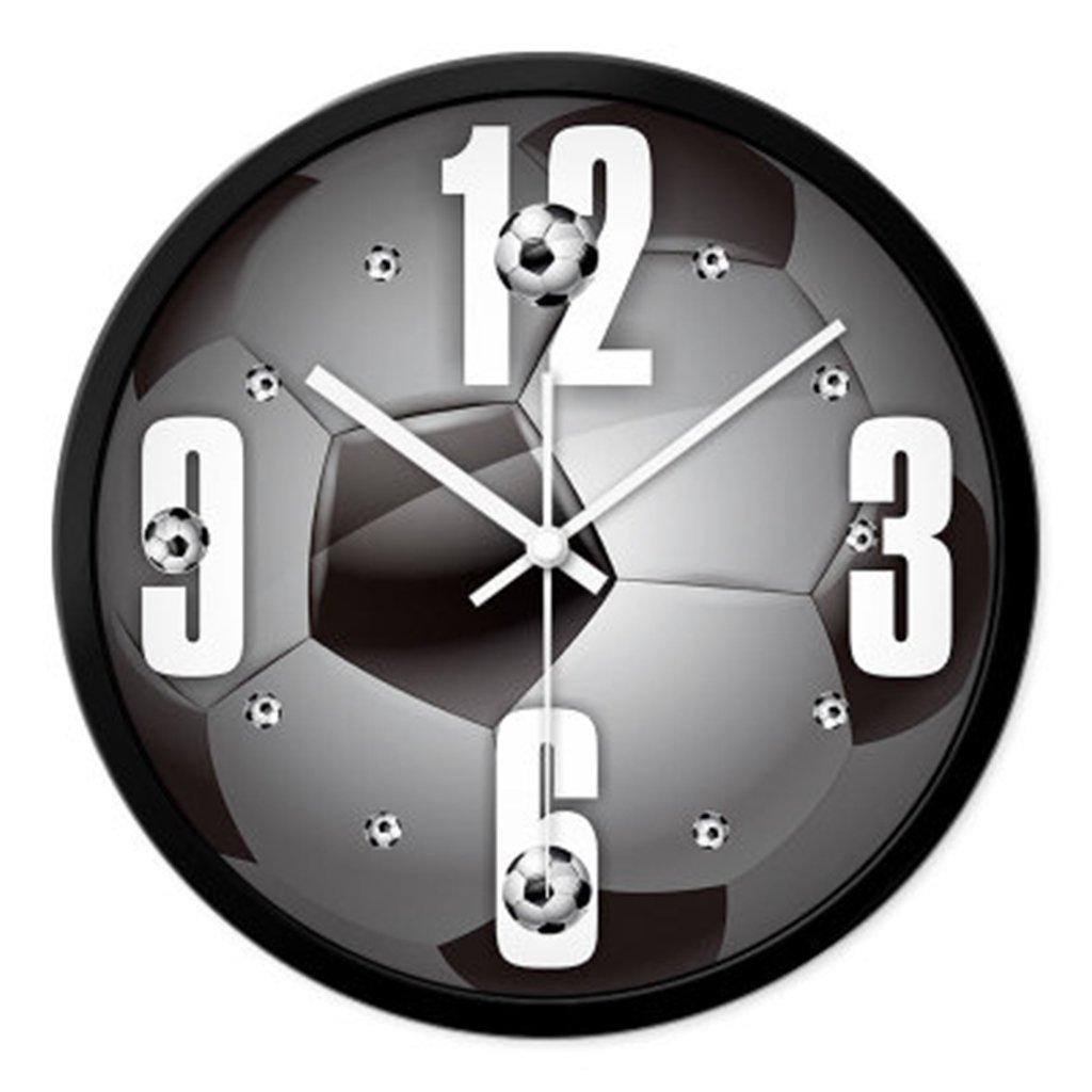 リビングルームミュートクリエイティブワールドカップウォールテーブルサッカーファンウォールクロックスポーツホールクォーツ時計バドミントンホールクロック ( 色 : ブラック ) B071J4TL6Jブラック