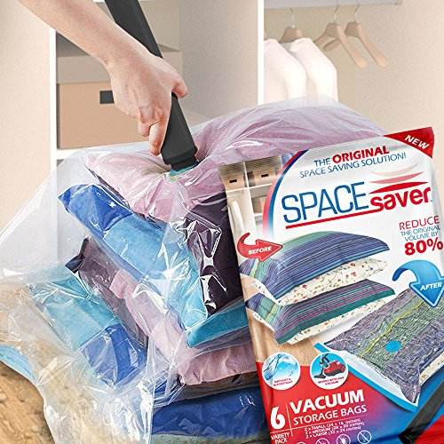 SpaceSaver Premium Vacuum Storage Bags (2 x Small, 2 x Medium, 2 x Large) (80% More Storage Than Leading Brands) Free Hand Pump For Travel!