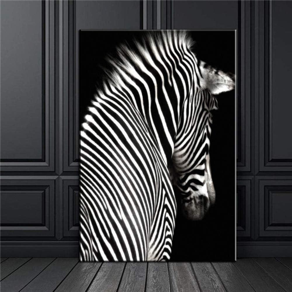 LiMengQi León Blanco Negro Elefante leopardos Caballo Pared Arte Lienzo Pintura Carteles nórdicos e Impresiones Cuadros de Pared para la decoración de la Sala de Estar(No Frame)