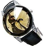 Womens Ladies Beautiful Pretty Cute Elegant Fashion Black Kitty Cat Bracelet Wrist Watch
