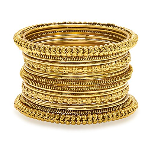 Aheli Traditional Antique Look Oxidized Bohemian Bangle Pair for Women Girls in Indian Bollywood Style