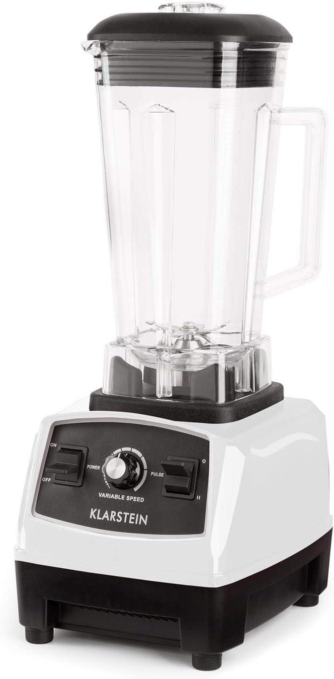 Klarstein Herakles 2G Batidora BPA-free - Mezcladora, Picadora, Licuadora, Smoothies sopas cremas, 1200 W, 28000 rpm, 2L, 6 cuchillas, Blanco