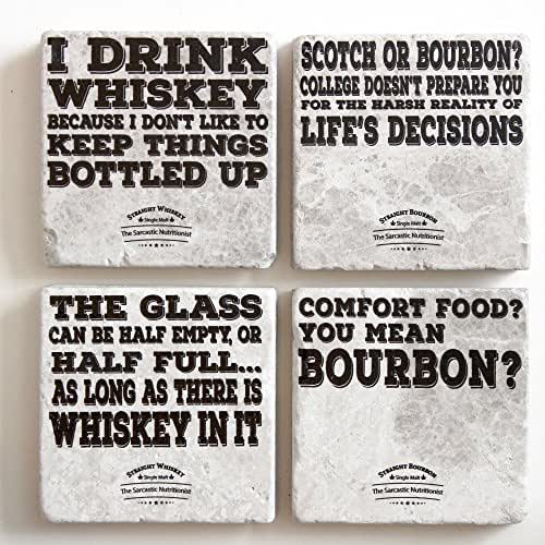 Handmade Marble Coasters   Funny, But True Bourbon and Whiskey Coasters   Set of 4