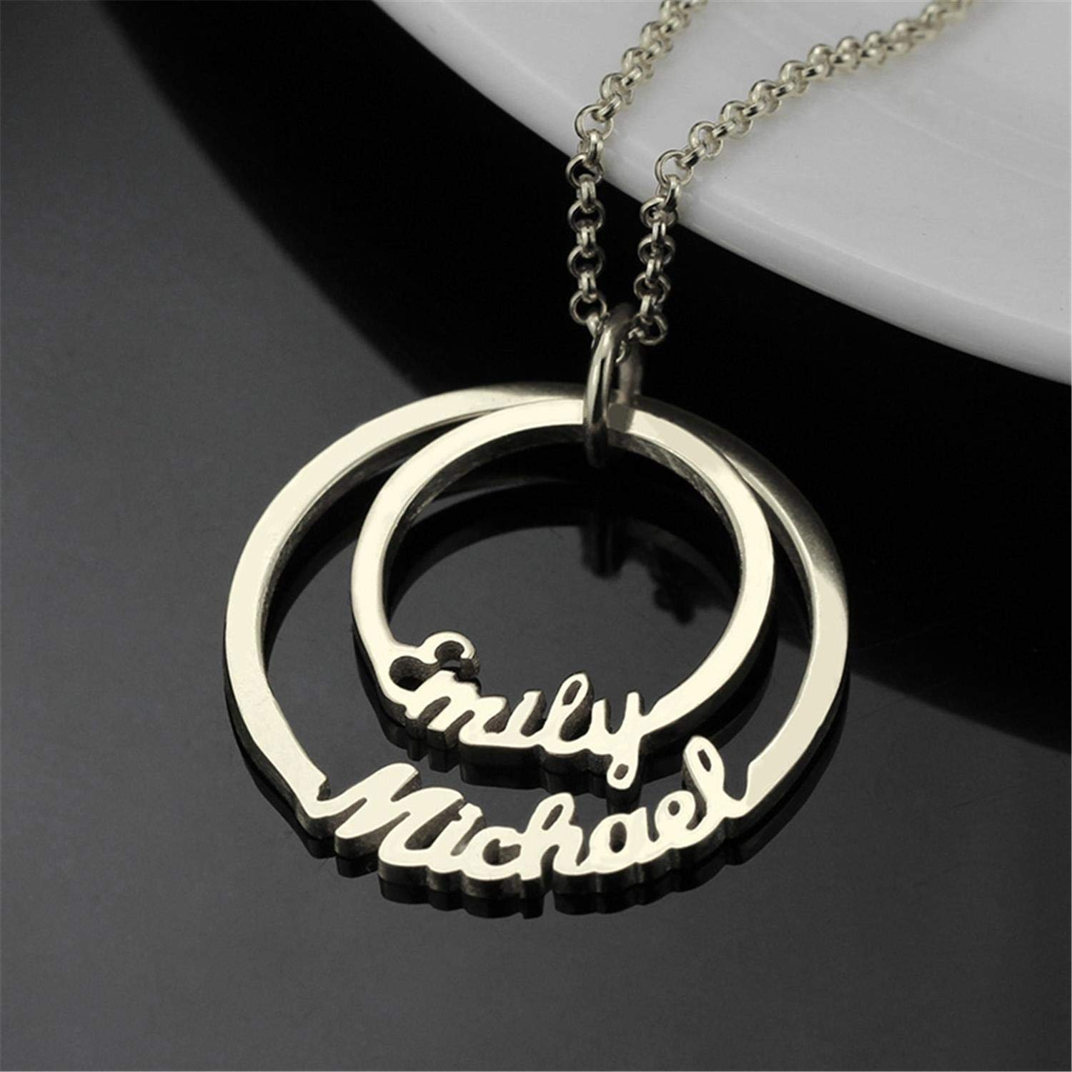 Getname Necklace Two Circle of Life Double Name Necklace Custom 2 Disc Name Necklace Personalized Name Necklace