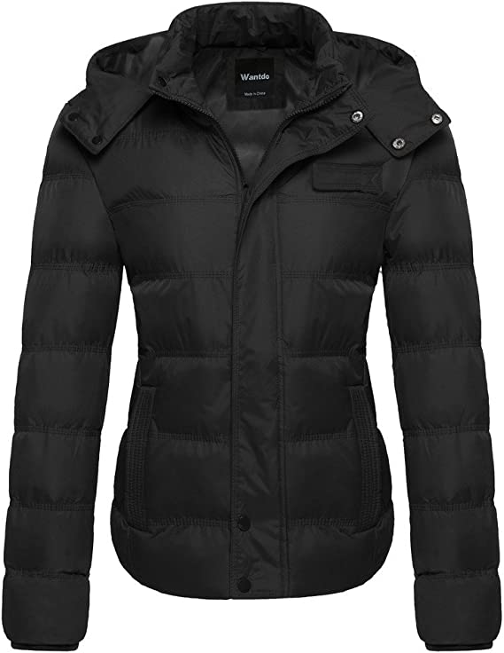 Wantdo Thick Winter Coat Quilted Puffer Jacket with Removable Hood