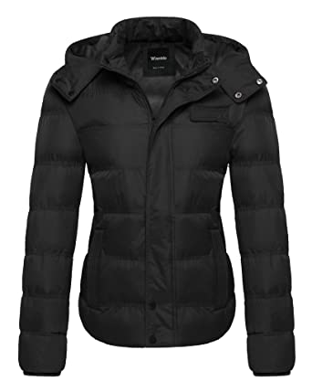 Wantdo Women s Thicken Quilted Puffer Jacket with Removable Hood US Small  Black 466c046bc8