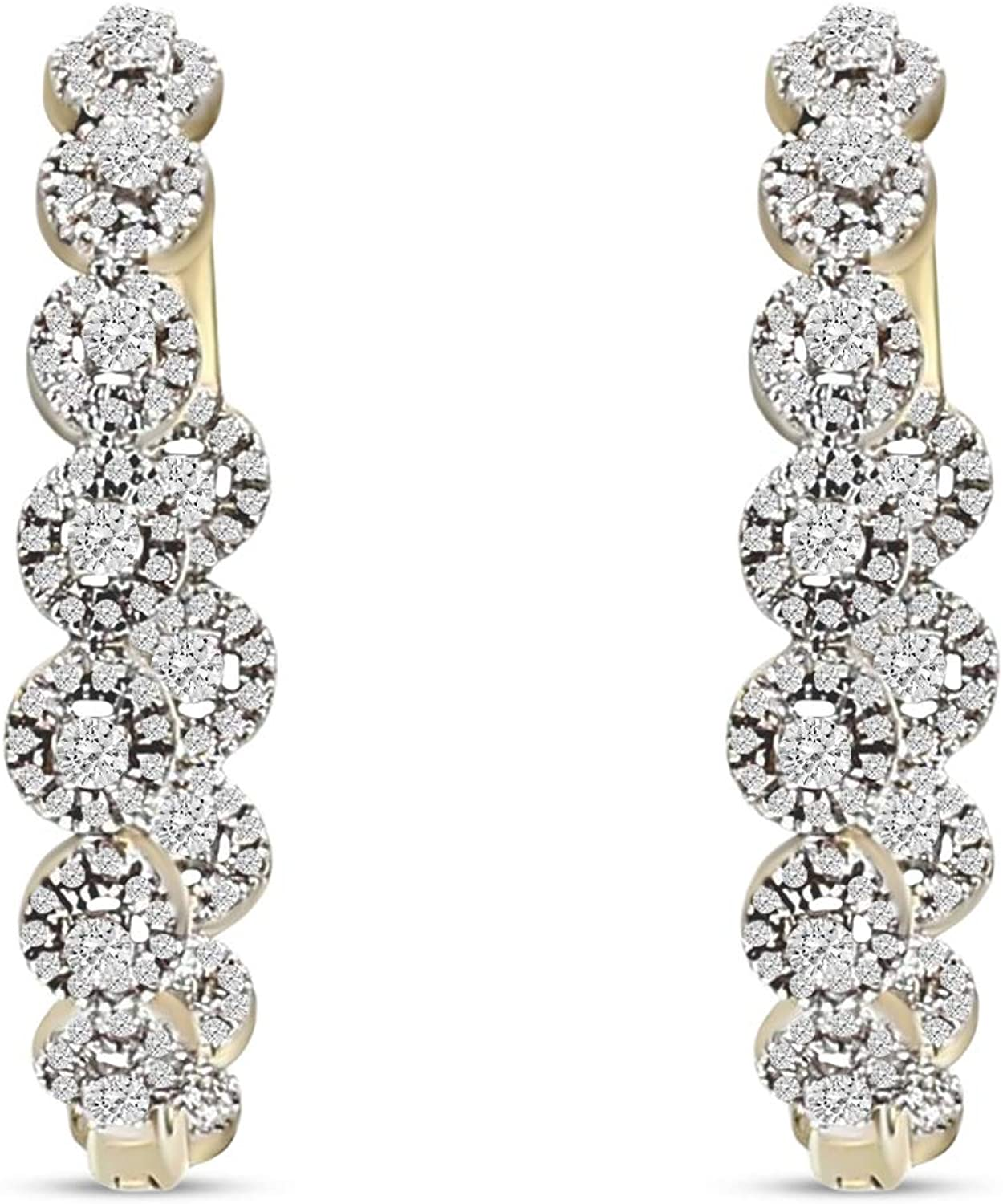 1/4 Ct to 5/8 Ct Diamond Huggie Hoop Earrings 10KT Gold Natural Diamond Earrings GH-I1 Quality Diamond Hoop Earrings (Jewelry Gift For Women)