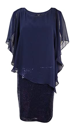 97bf5e440282 MSK Sequin Shift with Chiffon Popover Dress 14 at Amazon Women's Clothing  store: