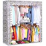 Portable Storage Closet Organizer Wardrobe Home Clothes Hanger Rail Rack Cabinet