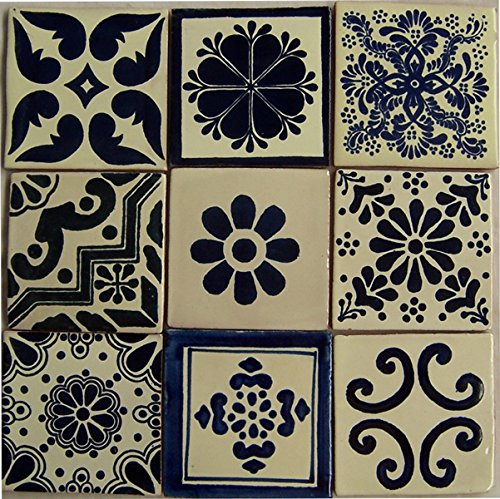 9 Hand Painted Talavera Mexican Tiles 4