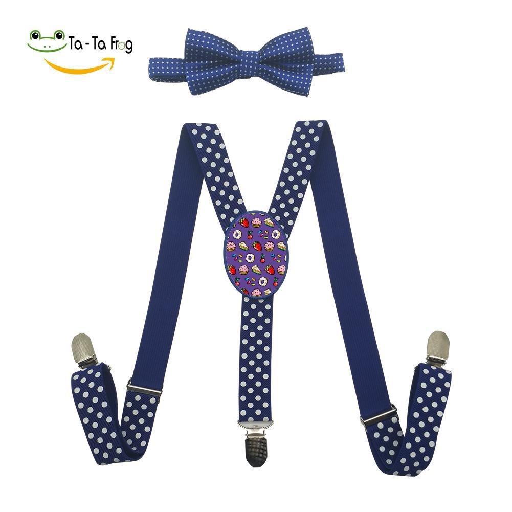 Xiacai Sweet Foods Suspender/&Bow Tie Set Adjustable Clip-On Y-Suspender Boys