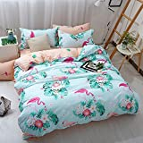 ManFan 4pcs in 1 Queen Aloe Cotton Bedding Set Solid Color AB Bed Protector Home Quilt Cover Blanket School Dorm Cartoon Print - Flamingos