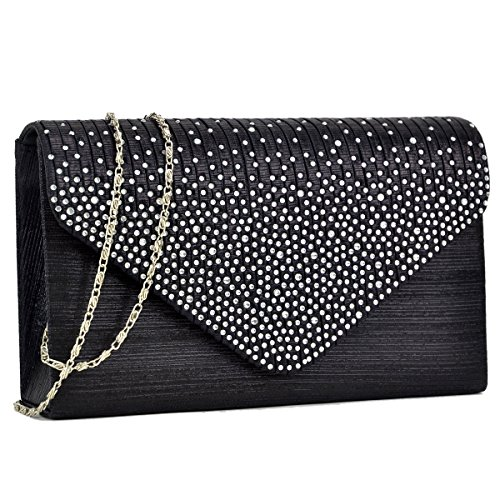 Dasein Ladies Frosted Satin Evening Clutch Purse Bag Crossbody Handbags Party Prom Wedding Envelope (Black)