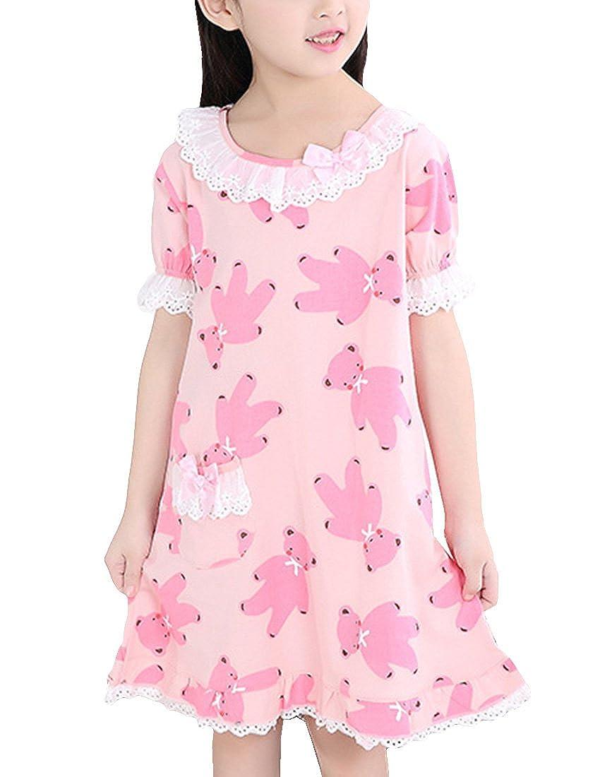 MFrannie Girls Bears Print Flounce Ruffle Lace Summer Sleep Shirt Nightgown