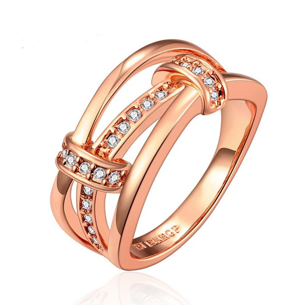 SunIfSnow High-end Jewelry 18K Rose Gold Inlaid Zircon Rings 8