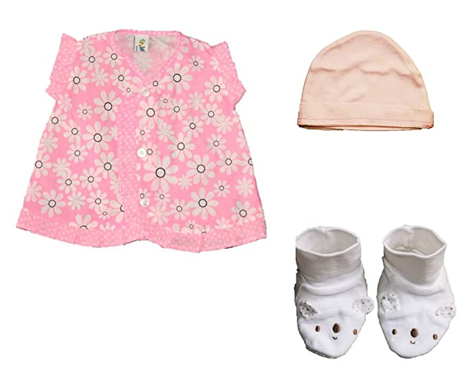 ef6355187 A set of new born baby girl cotton frocks with booties and cap