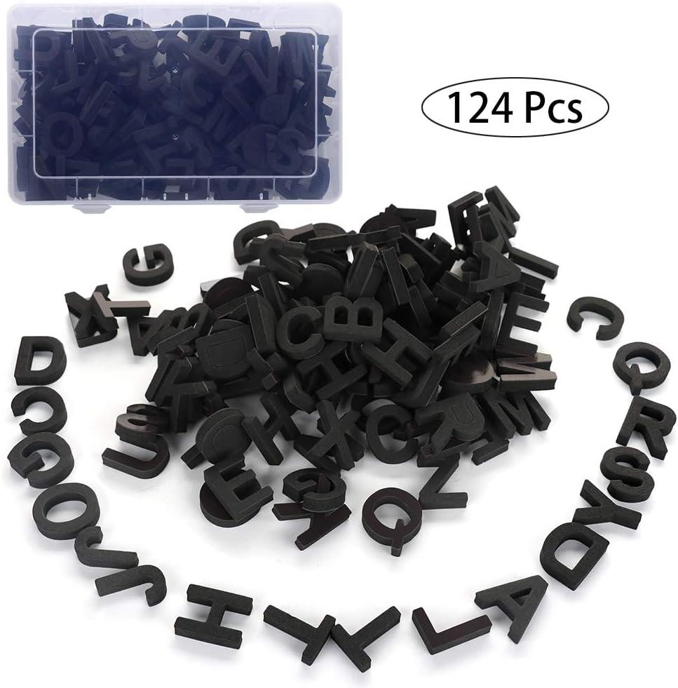 Firlar Magnetic Letters - 124Pcs Fun Alphabet Kit Refrigerator Magnets Educational Toys for Preschool Kids Learning,Spelling (Black)