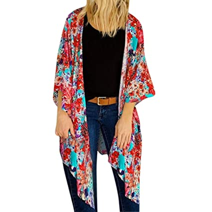 c5d53ee119 Image Unavailable. Image not available for. Color: Women Floral Print  Kimono Cardigan Ladies Batwing 3/4 Sleeves Chiffon Shawl Summer Beach Cover