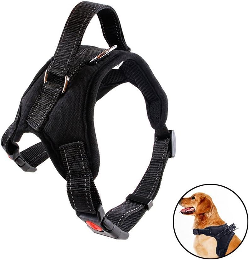 Bello Luna Arnés para perros Ajustable Arnés para chaleco refletivo con manija y silla acolchada Style-Black / L