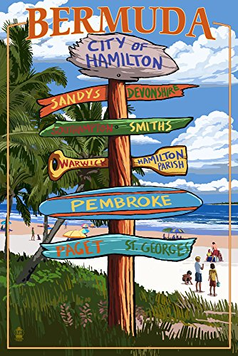 Bermuda - Destinations Sign 33327 (24x36 SIGNED Print Master Art Print - Wall Decor Poster)