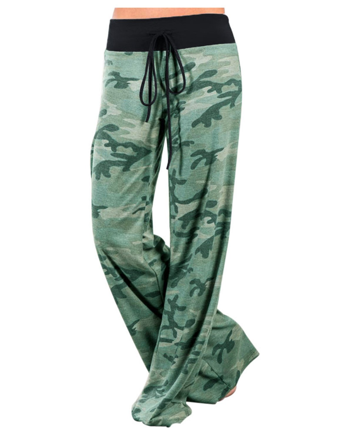 GAMISS Women's Casual Wide Leg Pajama Pants Camo Print Comfy Drawstring High Waist Yoga Lounge Palazzo Pants Green XL
