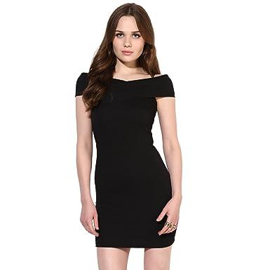 VeniVidiVici Black Textured Bandage Bardot Off Shoulder Dress ... ad579032a