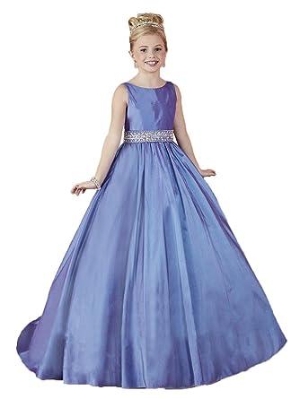 Amazon.com: HuaMei Girls\' Taffeta Scoop Birthday Party Ball Gowns ...
