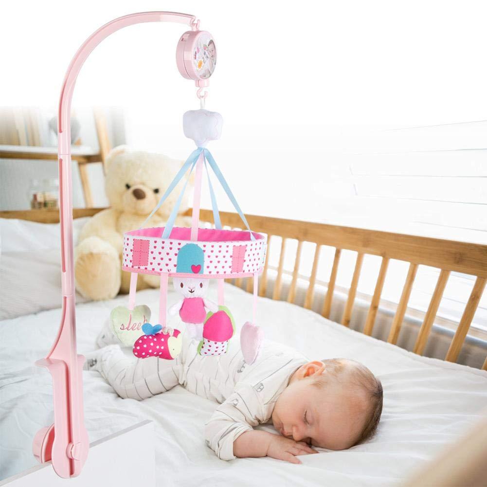 Forma de Conejo giratoria Cuna de beb/é Campana de Cama Campana Juguete de M/úsica Regalo para ni/ño Tnfeeon Soporte de Campana de Cama m/óvil