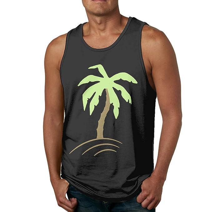 e19c8c56b47eec Palm Tree Beach Holiday Sun Men Sleeveless Tank Tops Athletic Shirt Black