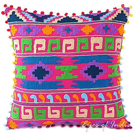 16 Blue Embroidered Colorful Decorative Couch Sofa Pillow Cushion Throw Cover Boho Bohemian Indian COMINHKR081753 Eyes of India
