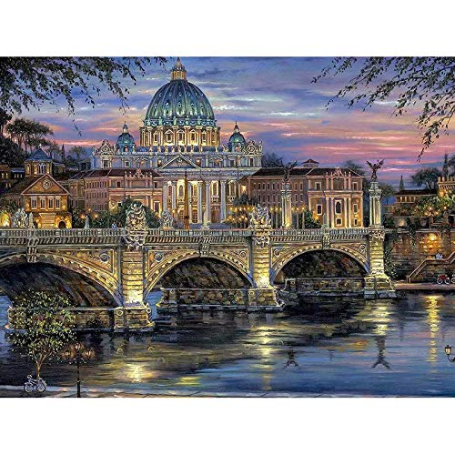 - DIY 5D Diamond Painting by Number Kit, 14x20 Inch Luminous Palace Crystal Rhinestone Embroidery Cross Stitch Arts Craft Supply Canvas Wall Decor