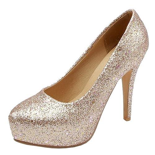 Agodor Damen Glitzer High Heels Pumps mit Plateau und Stiletto Elegant Braut Hochzeit Schuhe