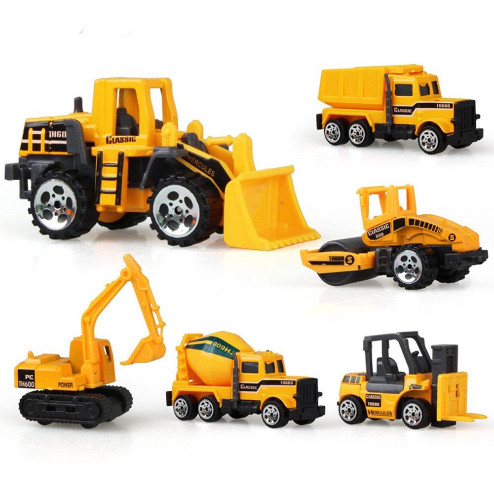 6-teiliges Set Kinder Frühschul-Auto-Spielzeug, Mini-Konstruktion, Traktor, Fahrzeug-Spielzeug-Set, Bulldozer, Gabelstapler, Frontlader, Traktor, Bagger, Muldenkipper für Jungen und Mädchen, Wie abgebildet, 6pcs/set Behavetw