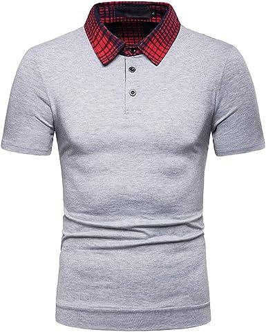 Polo para Hombre Camisa Manga Corta con Cuello de Cuadros Camisetas Informales de Verano: Amazon.es: Ropa y accesorios