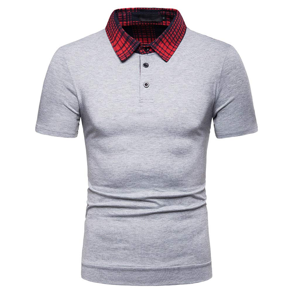 Mens Short Sleeves Polo Shirt Casual Cotton Standard Fit Summer Breathable Turn Down Collr Sport T-Shirt