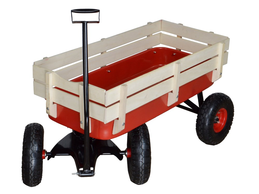 TMS Outdoor Wagon All Terrain Pulling w/Wood Railing Air Tires Children Kid Garden by TMS (Image #3)