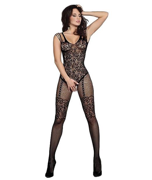 34e5a93947 Abberrki Women Lace Lingerie Fishnet Bodystocking Crotchless Tights Bodysuit  (Black)