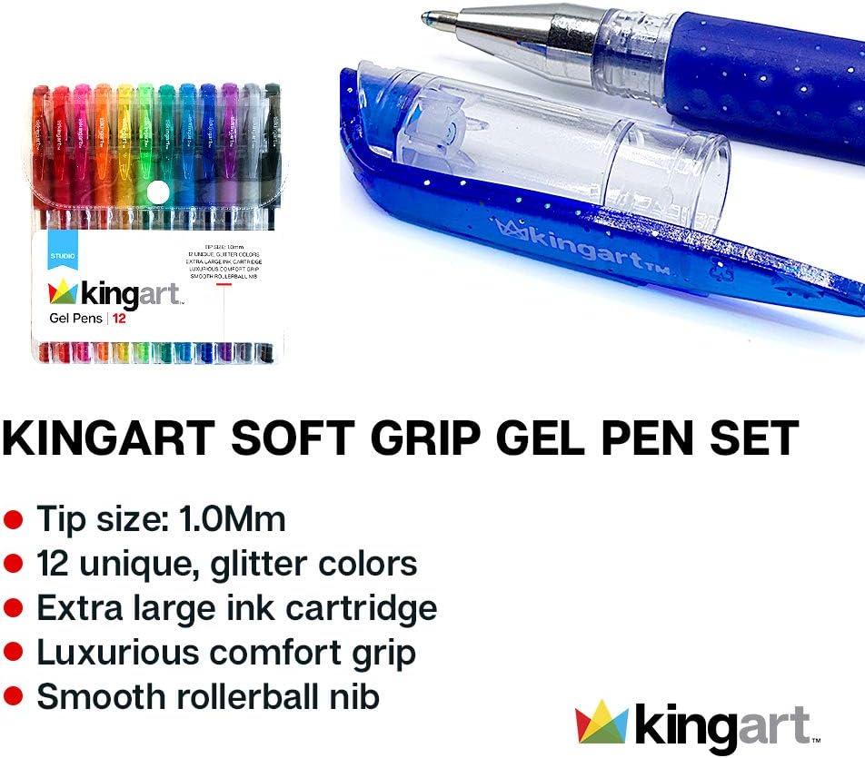 NEW KINGART 400-12 Soft Grip Gel 12 Pens O//S Vivid Colors Art School